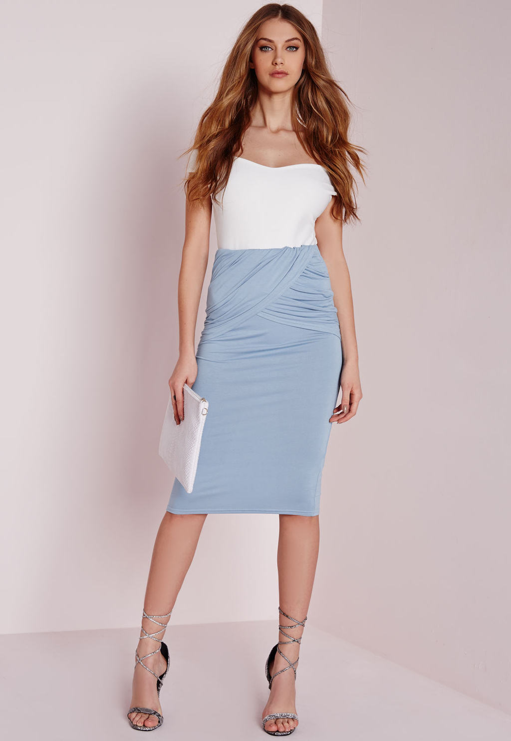 Pleated Wrap Waist Midi Skirt Blue, Blue - pattern: plain; style: pencil; fit: tight; waist: high rise; waist detail: twist front waist detail/nipped in at waist on one side/soft pleats/draping/ruching/gathering waist detail; predominant colour: pale blue; length: on the knee; fibres: viscose/rayon - stretch; occasions: occasion; texture group: jersey - clingy; pattern type: fabric; season: a/w 2015