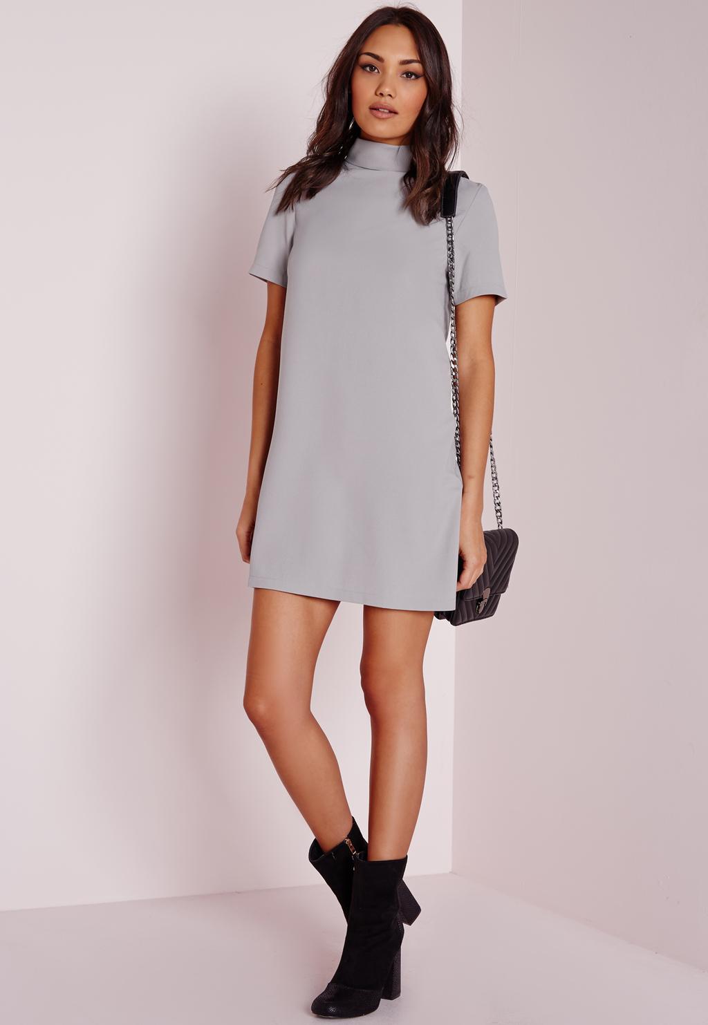 High Neck Short Sleeve Shift Dress Grey, Grey - style: shift; length: mini; pattern: plain; neckline: high neck; predominant colour: light grey; occasions: evening; fit: body skimming; fibres: polyester/polyamide - stretch; sleeve length: short sleeve; sleeve style: standard; texture group: crepes; pattern type: fabric; season: a/w 2015; wardrobe: event
