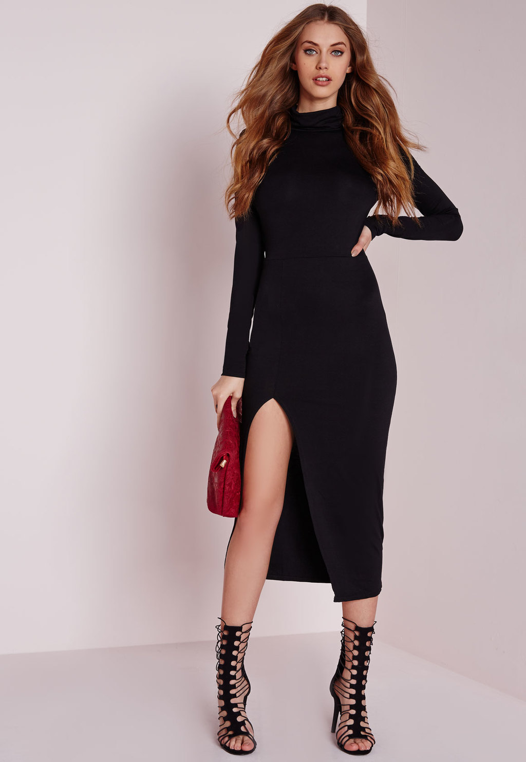 High Neck Extreme Side Split Midi Dress Black, Black - length: calf length; fit: tight; pattern: plain; neckline: high neck; style: bodycon; predominant colour: black; occasions: evening; fibres: polyester/polyamide - stretch; sleeve length: long sleeve; sleeve style: standard; texture group: jersey - clingy; pattern type: fabric; season: a/w 2015; wardrobe: event