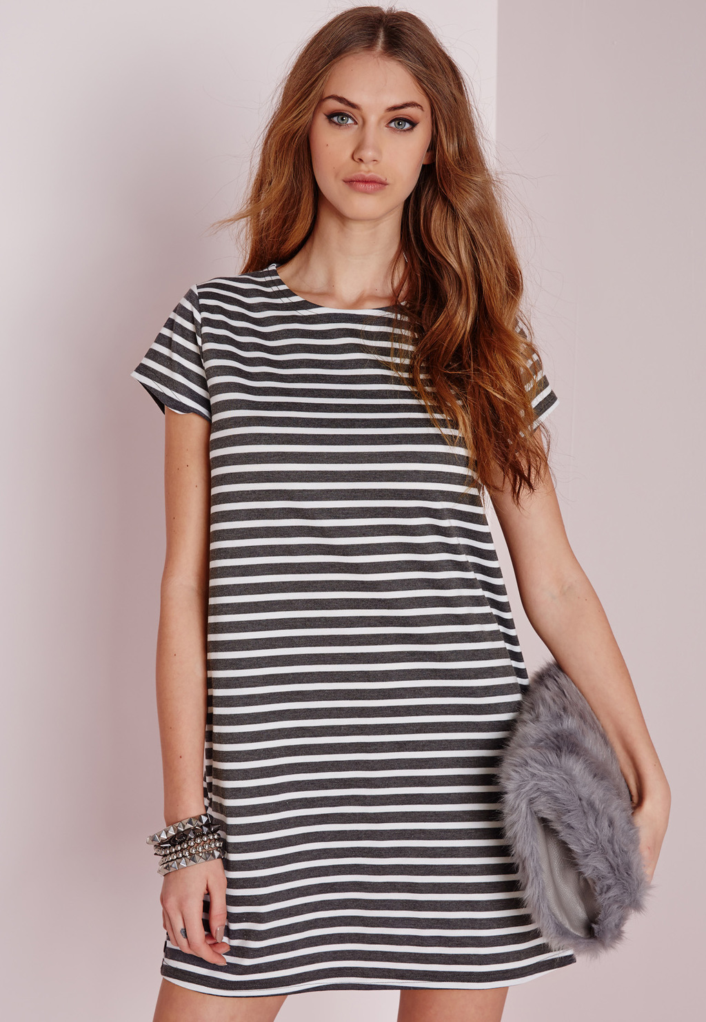 Short Sleeve Stripe Shift Dress Grey, Grey - style: shift; length: mid thigh; pattern: horizontal stripes; secondary colour: white; predominant colour: charcoal; occasions: casual; fit: body skimming; fibres: polyester/polyamide - 100%; neckline: crew; sleeve length: short sleeve; sleeve style: standard; pattern type: fabric; texture group: jersey - stretchy/drapey; season: a/w 2015; wardrobe: basic