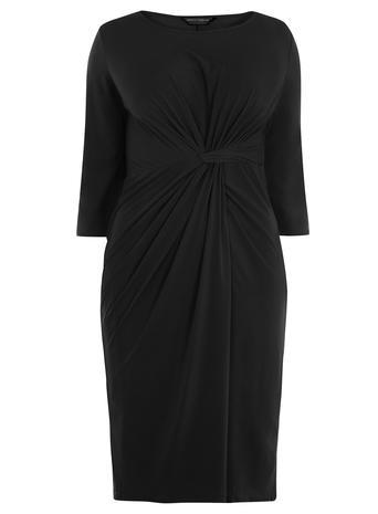 Womens **Dp Curve Black Knot Front Dress Black - style: shift; pattern: plain; predominant colour: black; occasions: evening; length: just above the knee; fit: body skimming; fibres: polyester/polyamide - stretch; neckline: crew; sleeve length: half sleeve; sleeve style: standard; pattern type: fabric; texture group: jersey - stretchy/drapey; season: a/w 2015; wardrobe: event