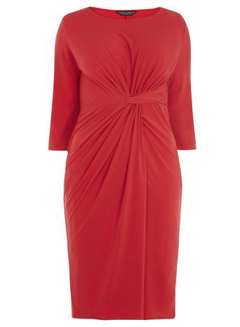 Womens **Dp Curve Red Knot Front Dress Red - style: shift; length: below the knee; pattern: plain; predominant colour: true red; occasions: evening; fit: body skimming; fibres: polyester/polyamide - stretch; neckline: crew; hip detail: adds bulk at the hips; sleeve length: 3/4 length; sleeve style: standard; texture group: jersey - clingy; pattern type: fabric; season: a/w 2015; wardrobe: event