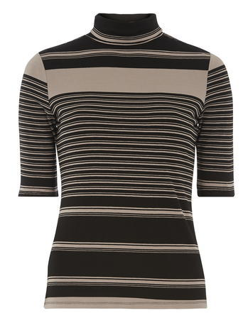 Womens Stripe Jersey Roll Neck Top Black - pattern: horizontal stripes; neckline: high neck; secondary colour: nude; predominant colour: black; length: standard; style: top; fibres: viscose/rayon - stretch; fit: tight; sleeve length: half sleeve; sleeve style: standard; pattern type: fabric; pattern size: standard; texture group: jersey - stretchy/drapey; occasions: creative work; season: a/w 2015; wardrobe: basic