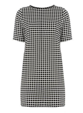 Womens Tall: Black And White Tunic Black - pattern: checked/gingham; style: tunic; secondary colour: white; predominant colour: black; occasions: casual; fibres: polyester/polyamide - mix; fit: body skimming; neckline: crew; length: mid thigh; sleeve length: short sleeve; sleeve style: standard; pattern type: fabric; texture group: other - light to midweight; season: a/w 2015; wardrobe: highlight