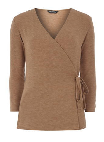 Womens **Tall Toffee Tie Wrap Top Unspecified - neckline: v-neck; pattern: plain; style: wrap/faux wrap; waist detail: belted waist/tie at waist/drawstring; predominant colour: camel; occasions: casual; length: standard; fibres: polyester/polyamide - stretch; fit: body skimming; sleeve length: long sleeve; sleeve style: standard; pattern type: fabric; texture group: jersey - stretchy/drapey; season: a/w 2015; wardrobe: basic