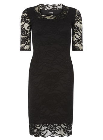 Womens *Feverfish Black Lace Scallop Dress Black - style: shift; fit: tight; neckline: high neck; hip detail: draws attention to hips; predominant colour: black; occasions: evening; length: just above the knee; sleeve length: half sleeve; sleeve style: standard; texture group: lace; pattern type: fabric; pattern size: standard; pattern: patterned/print; fibres: nylon - stretch; embellishment: lace; shoulder detail: sheer at shoulder; season: a/w 2015; wardrobe: event