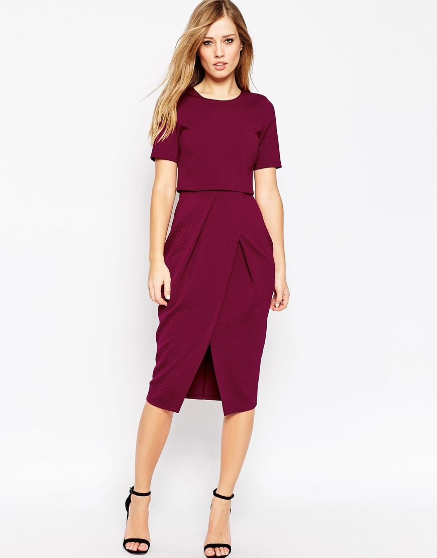 Double Layer Textured Wiggle Dress Cranberry - style: shift; length: below the knee; fit: tailored/fitted; pattern: plain; waist detail: fitted waist; predominant colour: burgundy; occasions: evening; fibres: polyester/polyamide - stretch; neckline: crew; hip detail: slits at hip; sleeve length: short sleeve; sleeve style: standard; texture group: crepes; pattern type: fabric; season: a/w 2015