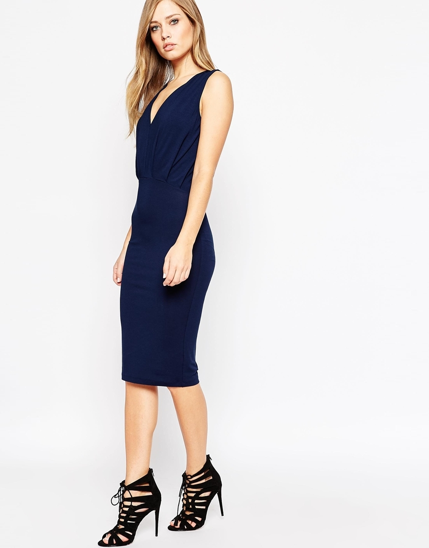 Sleeveless Drape Midi Dress Nude - style: shift; length: below the knee; neckline: low v-neck; pattern: plain; sleeve style: sleeveless; predominant colour: navy; occasions: evening; fit: body skimming; fibres: viscose/rayon - stretch; sleeve length: sleeveless; pattern type: fabric; texture group: jersey - stretchy/drapey; season: a/w 2015; wardrobe: event