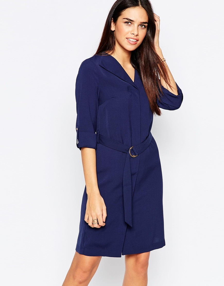 Belted Shirt Dress Navy - style: shirt; neckline: shirt collar/peter pan/zip with opening; pattern: plain; waist detail: belted waist/tie at waist/drawstring; predominant colour: navy; occasions: casual, creative work; length: just above the knee; fit: straight cut; fibres: polyester/polyamide - 100%; sleeve length: 3/4 length; sleeve style: standard; pattern type: fabric; texture group: other - light to midweight; season: a/w 2015; wardrobe: basic