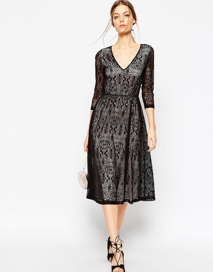 Lace Midi Dress With Contrast Lining Black/Nude - length: below the knee; neckline: v-neck; secondary colour: charcoal; predominant colour: black; occasions: evening, occasion; fit: fitted at waist & bust; style: fit & flare; fibres: polyester/polyamide - 100%; sleeve length: 3/4 length; sleeve style: standard; texture group: lace; pattern type: fabric; pattern size: standard; pattern: patterned/print; season: a/w 2015; wardrobe: event