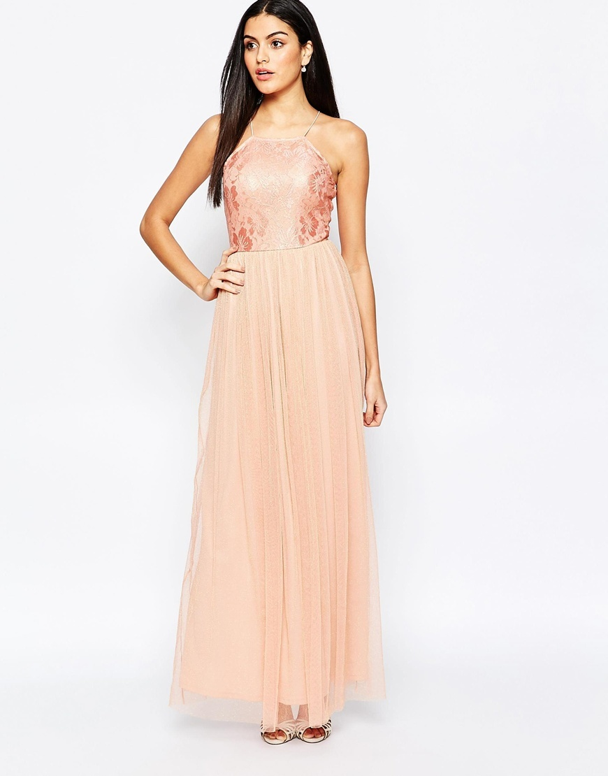 Maxi Dress With Lace Top And Skirt In Glitter Fabric Nude - neckline: high square neck; sleeve style: spaghetti straps; style: maxi dress; length: ankle length; predominant colour: coral; occasions: evening, occasion; fit: fitted at waist & bust; fibres: polyester/polyamide - 100%; hip detail: soft pleats at hip/draping at hip/flared at hip; bust detail: contrast pattern/fabric/detail at bust; sleeve length: sleeveless; texture group: sheer fabrics/chiffon/organza etc.; pattern type: fabric; pattern size: light/subtle; pattern: patterned/print; embellishment: lace; season: a/w 2015