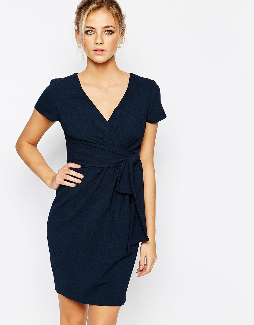 Closet Wrap Front Midi Dress With Tie Front Navy - style: faux wrap/wrap; length: mid thigh; neckline: v-neck; pattern: plain; predominant colour: navy; occasions: evening; fit: body skimming; fibres: polyester/polyamide - stretch; sleeve length: short sleeve; sleeve style: standard; pattern type: fabric; texture group: jersey - stretchy/drapey; season: a/w 2015; wardrobe: event