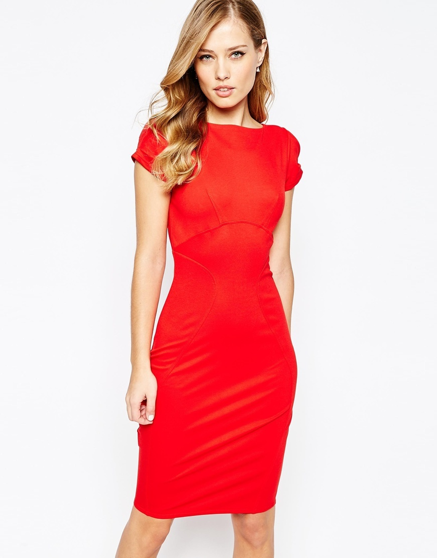 Closet Pencil Dress With Ruched Cap Sleeve Red - sleeve style: capped; fit: tight; pattern: plain; style: bodycon; predominant colour: true red; occasions: evening; length: on the knee; fibres: viscose/rayon - stretch; neckline: crew; sleeve length: short sleeve; texture group: jersey - clingy; pattern type: fabric; season: a/w 2015