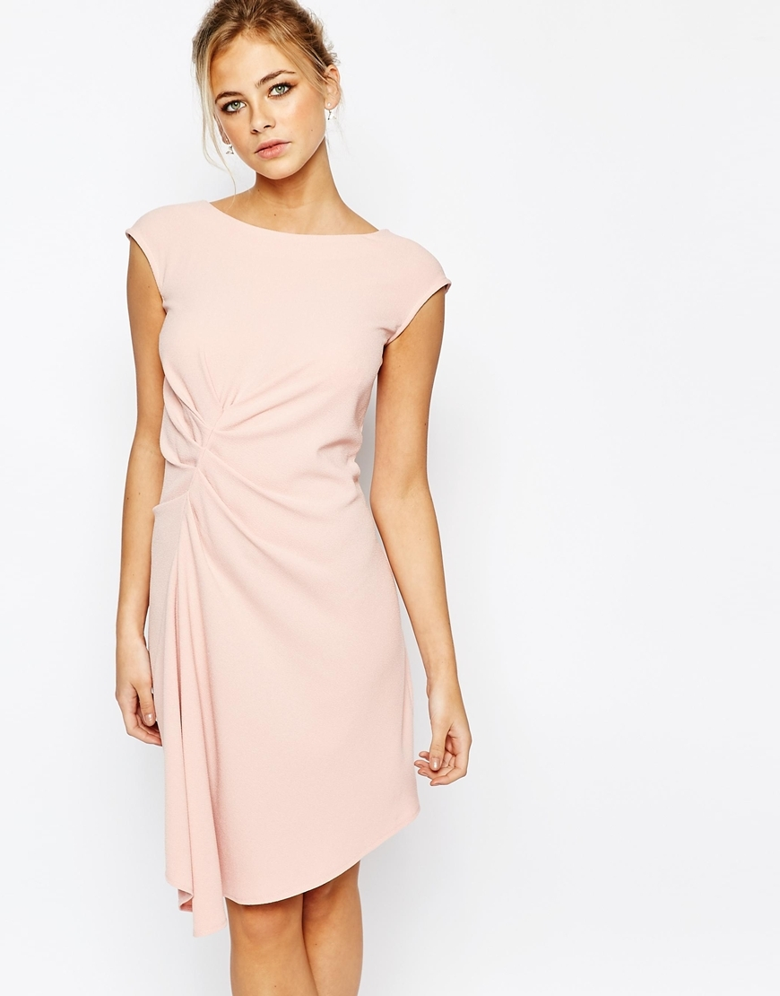 Closet Midi Dress With Cap Sleeve And Gathers Pink - style: shift; sleeve style: capped; pattern: plain; waist detail: flattering waist detail; predominant colour: blush; length: on the knee; fit: body skimming; fibres: polyester/polyamide - stretch; occasions: occasion; neckline: crew; sleeve length: short sleeve; pattern type: fabric; texture group: other - light to midweight; season: a/w 2015; wardrobe: event