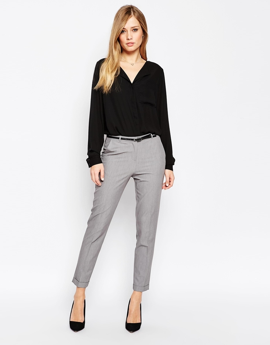 Cigarette Trousers With Belt Grey - pattern: plain; waist detail: belted waist/tie at waist/drawstring; waist: mid/regular rise; predominant colour: light grey; occasions: work, creative work; length: ankle length; fibres: linen - mix; texture group: linen; fit: tapered; pattern type: fabric; style: standard; season: a/w 2015; wardrobe: basic