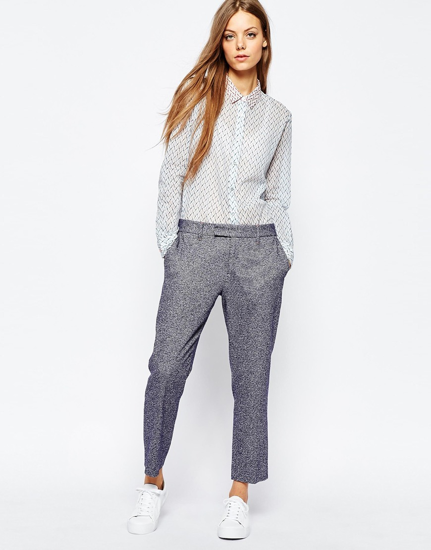 Speckled Trousers In Navy Navy - pattern: plain; waist: mid/regular rise; predominant colour: mid grey; occasions: casual, creative work; length: ankle length; fibres: cotton - mix; texture group: cotton feel fabrics; fit: slim leg; pattern type: fabric; style: standard; season: a/w 2015; wardrobe: basic