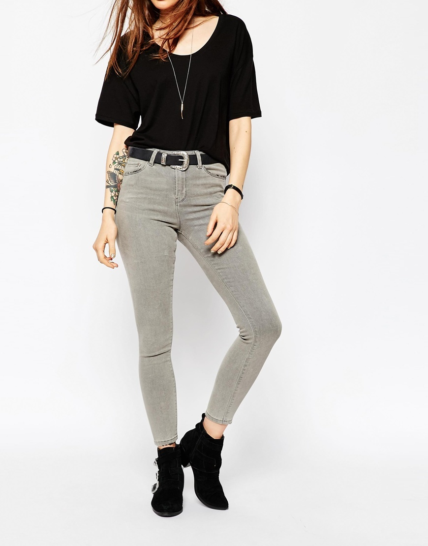 Ridley High Waist Skinny Jeans In Bay Grey Bay Grey - style: skinny leg; length: standard; pattern: plain; waist: high rise; pocket detail: traditional 5 pocket; predominant colour: light grey; occasions: casual; fibres: cotton - stretch; texture group: denim; pattern type: fabric; season: a/w 2015; wardrobe: highlight