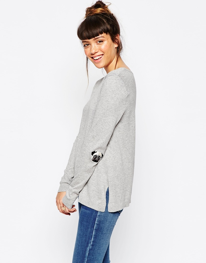 Jumper With Pug Elbow Patch Grey - pattern: plain; style: standard; predominant colour: light grey; occasions: casual; length: standard; fibres: cotton - 100%; fit: loose; neckline: crew; sleeve length: long sleeve; sleeve style: standard; texture group: knits/crochet; pattern type: fabric; season: a/w 2015