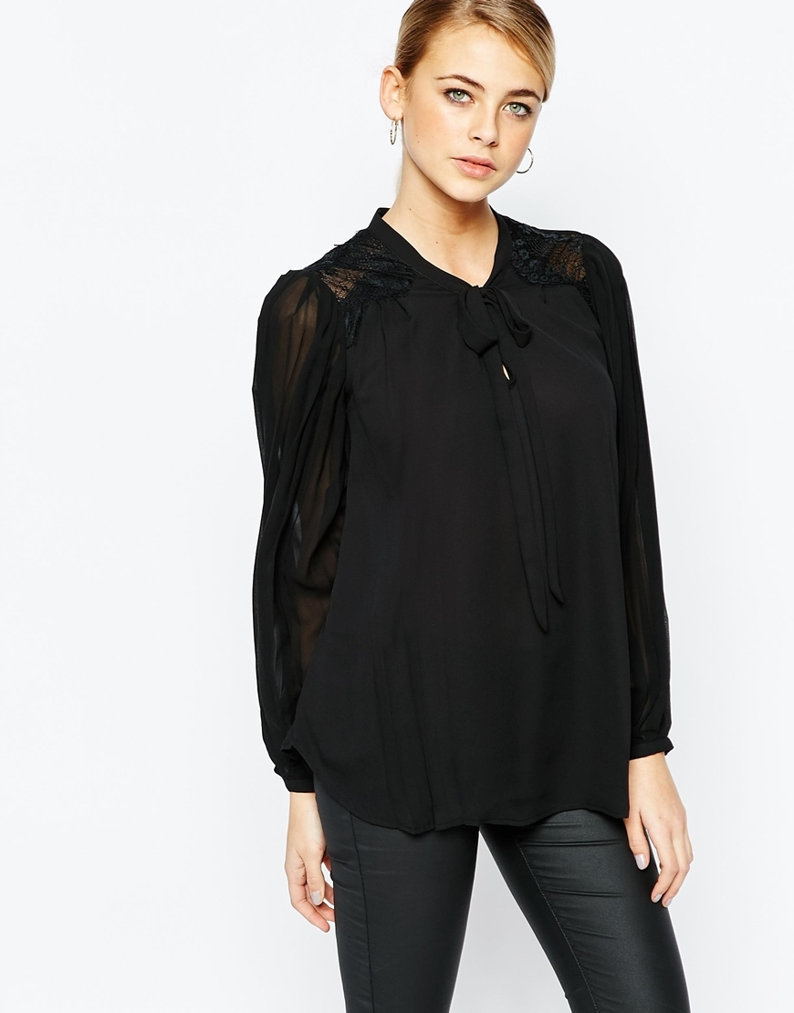 Pleat Pussy Bow Blouse Black - pattern: plain; neckline: pussy bow; sleeve style: balloon; style: blouse; predominant colour: black; occasions: casual, creative work; length: standard; fibres: polyester/polyamide - 100%; fit: loose; sleeve length: long sleeve; texture group: crepes; pattern type: fabric; shoulder detail: sheer at shoulder; season: a/w 2015; wardrobe: highlight