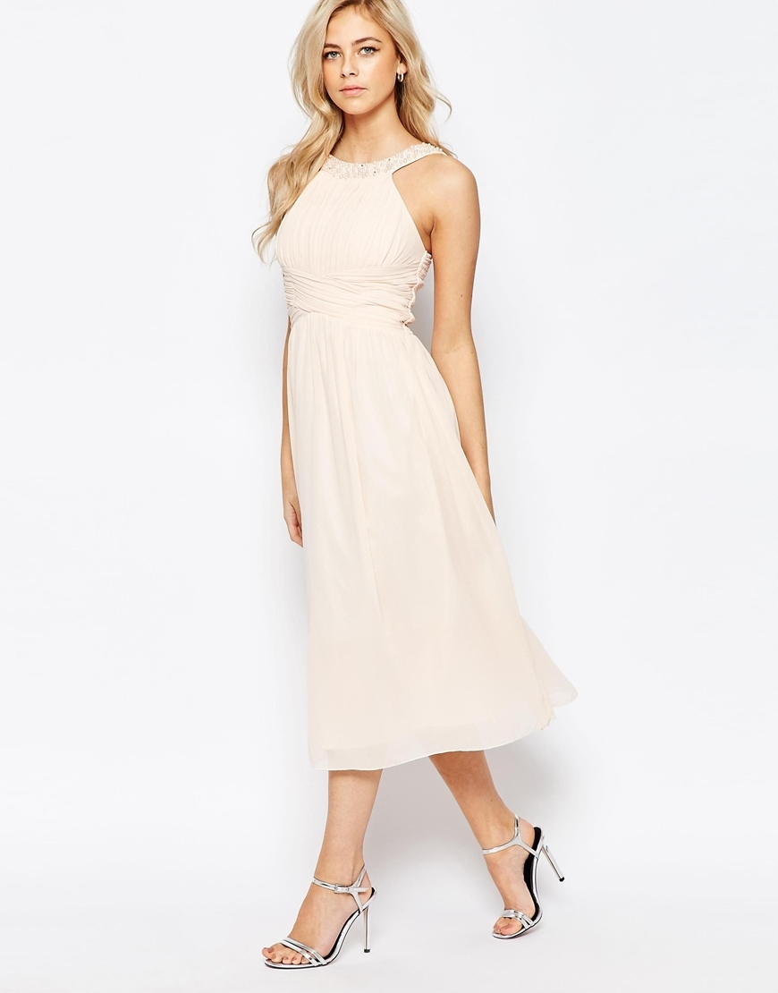 Embellished Empire Midi Dress With Chiffon Skirt Nude - length: calf length; neckline: round neck; pattern: plain; sleeve style: sleeveless; predominant colour: blush; fit: straight cut; style: fit & flare; fibres: polyester/polyamide - 100%; occasions: occasion; hip detail: soft pleats at hip/draping at hip/flared at hip; sleeve length: sleeveless; texture group: sheer fabrics/chiffon/organza etc.; pattern type: fabric; embellishment: beading; season: a/w 2015