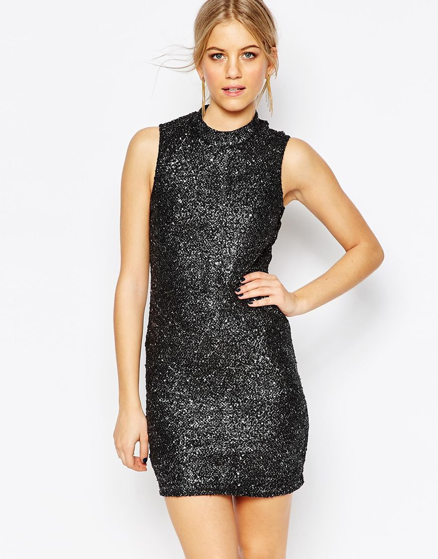 Sequin Bodycon Highneck Dress Black - length: mini; sleeve style: sleeveless; style: bodycon; predominant colour: black; occasions: evening; fit: body skimming; fibres: polyester/polyamide - stretch; neckline: crew; sleeve length: sleeveless; pattern type: fabric; pattern: patterned/print; texture group: jersey - stretchy/drapey; embellishment: sequins; season: a/w 2015; wardrobe: event