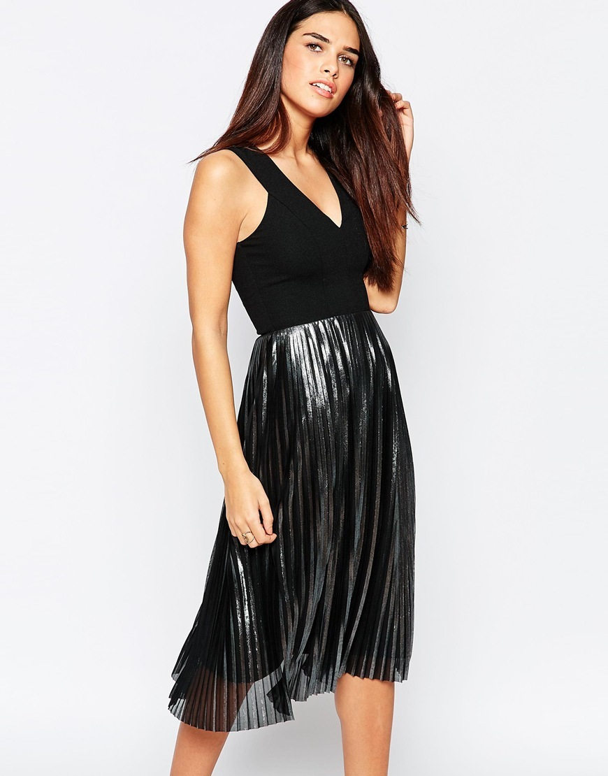 Foiled Pleated Dress Black - length: below the knee; neckline: low v-neck; pattern: plain; sleeve style: sleeveless; secondary colour: silver; predominant colour: black; occasions: evening; fit: fitted at waist & bust; style: fit & flare; fibres: polyester/polyamide - 100%; hip detail: structured pleats at hip; bust detail: contrast pattern/fabric/detail at bust; sleeve length: sleeveless; texture group: sheer fabrics/chiffon/organza etc.; pattern type: fabric; season: a/w 2015; wardrobe: event