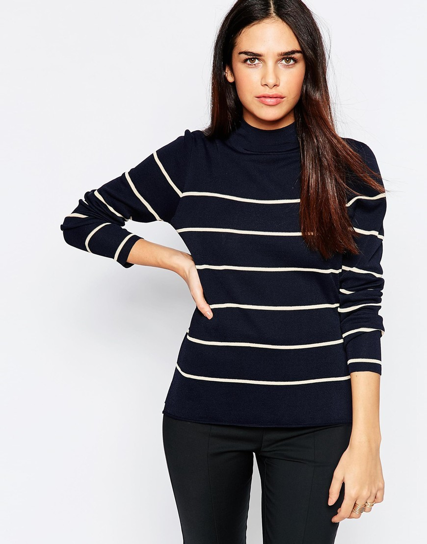 Stripe Polo Neck Navy Stripe - pattern: horizontal stripes; style: standard; secondary colour: white; predominant colour: black; occasions: casual, creative work; length: standard; fibres: viscose/rayon - stretch; fit: slim fit; neckline: crew; sleeve length: long sleeve; sleeve style: standard; trends: monochrome; pattern type: knitted - fine stitch; pattern size: light/subtle; texture group: jersey - stretchy/drapey; season: a/w 2015; wardrobe: highlight