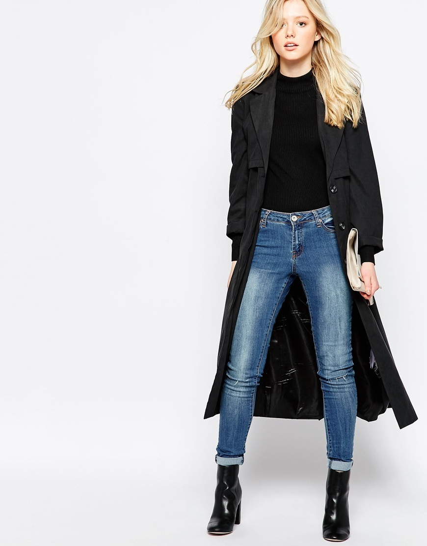 Belted Duster Jacket Black - pattern: plain; style: belted jacket; collar: standard lapel/rever collar; length: below the knee; predominant colour: black; occasions: casual, creative work; fit: straight cut (boxy); fibres: polyester/polyamide - mix; waist detail: belted waist/tie at waist/drawstring; sleeve length: long sleeve; sleeve style: standard; collar break: medium; pattern type: fabric; texture group: woven light midweight; season: a/w 2015; wardrobe: basic