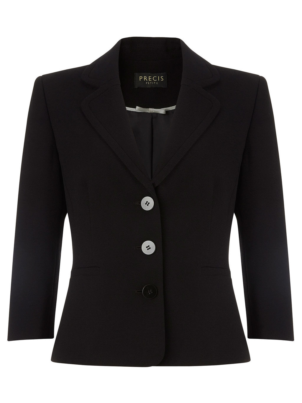 Emily Tailored Jacket - pattern: plain; style: single breasted blazer; collar: standard lapel/rever collar; predominant colour: black; occasions: work; length: standard; fit: tailored/fitted; fibres: polyester/polyamide - 100%; sleeve length: 3/4 length; sleeve style: standard; texture group: crepes; collar break: medium; pattern type: fabric; season: a/w 2015; wardrobe: investment