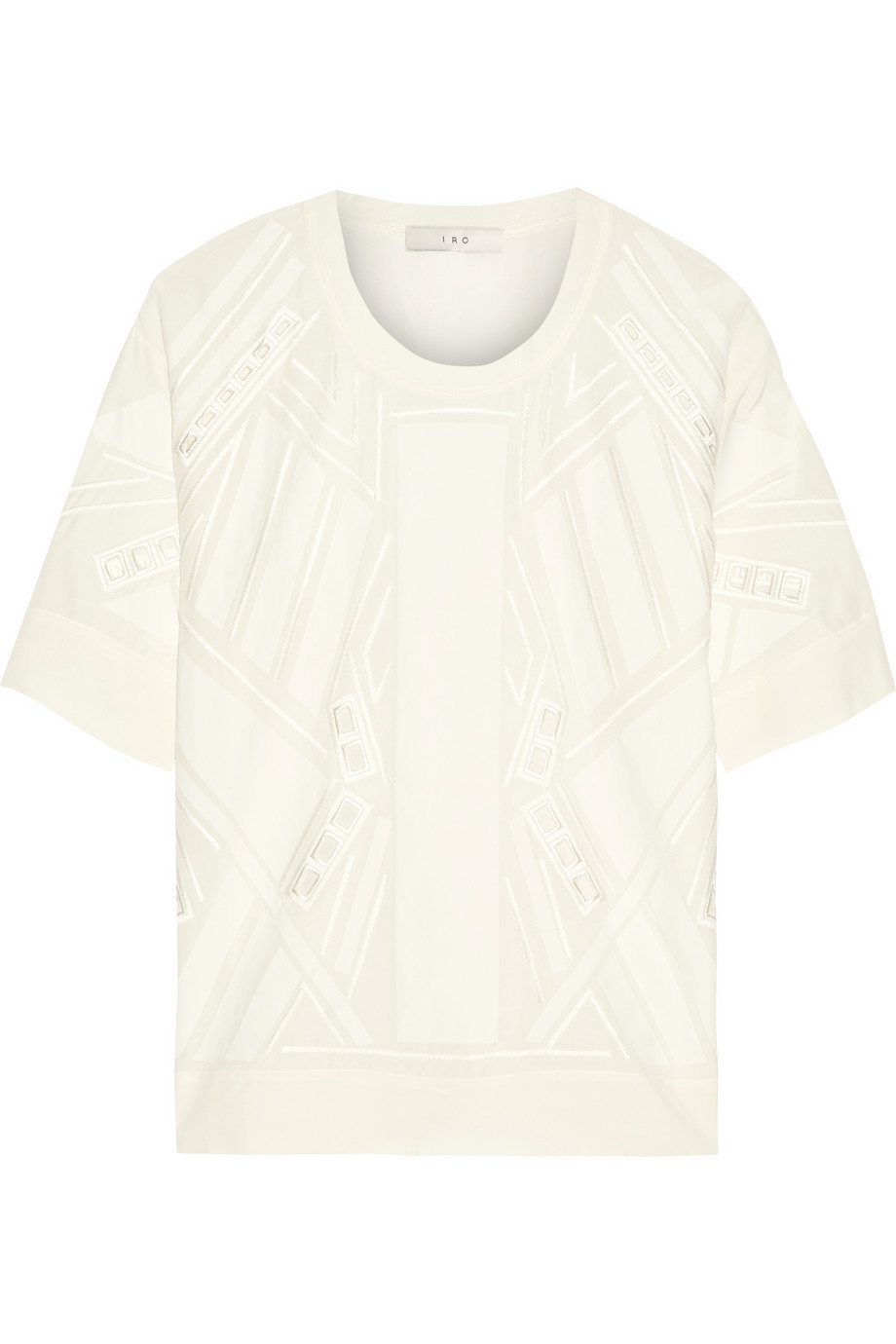 Embroidered Silk Top Ivory - neckline: round neck; pattern: plain; predominant colour: ivory/cream; occasions: casual, creative work; length: standard; style: top; fibres: silk - 100%; fit: straight cut; sleeve length: short sleeve; sleeve style: standard; texture group: silky - light; pattern type: fabric; embellishment: embroidered; season: a/w 2015; wardrobe: highlight