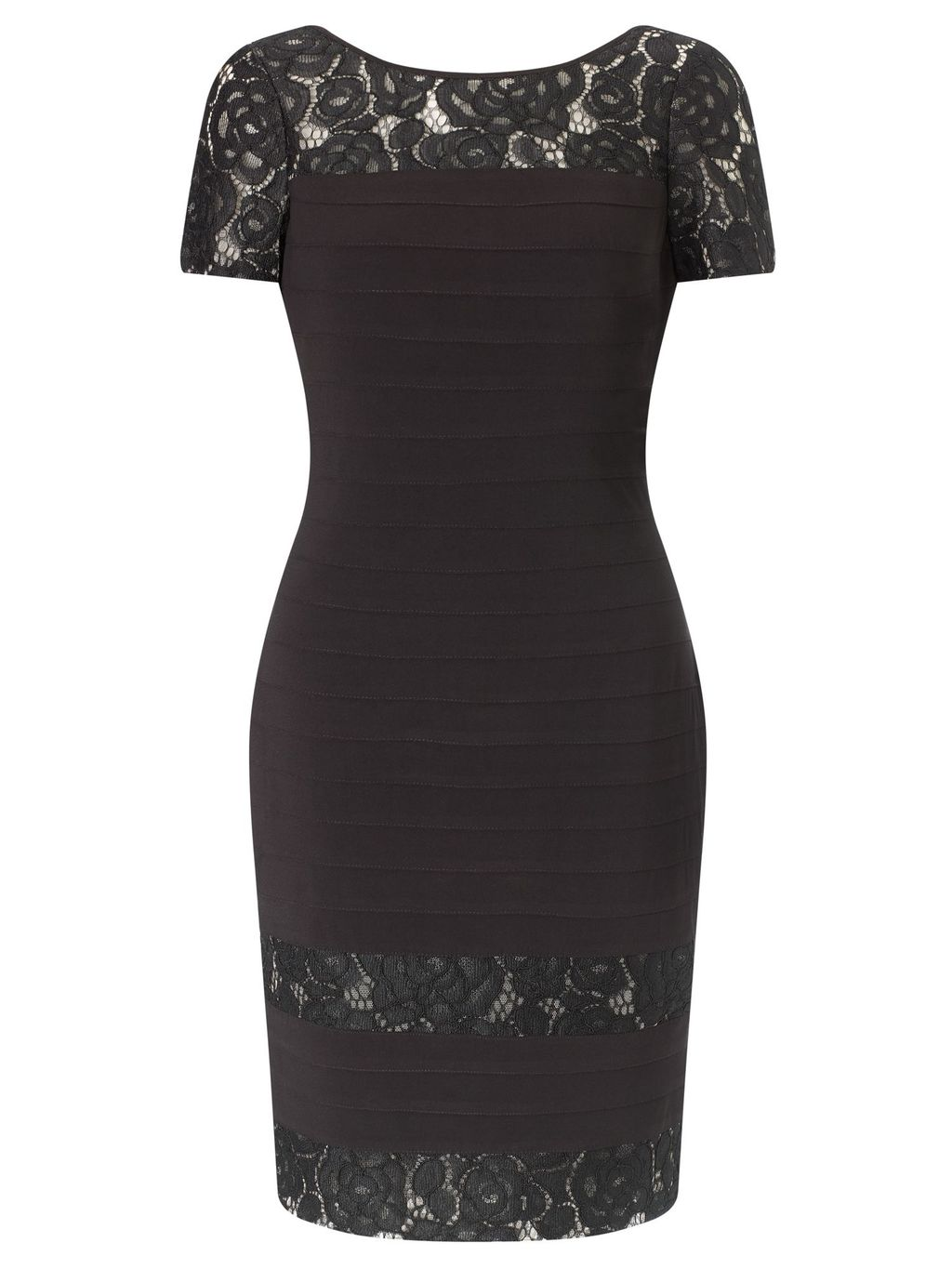 Short Sleeve Lace Bandeau Dress, Black - style: shift; neckline: round neck; predominant colour: black; occasions: evening; length: just above the knee; fit: body skimming; fibres: polyester/polyamide - stretch; sleeve length: short sleeve; sleeve style: standard; texture group: lace; pattern type: fabric; pattern: patterned/print; embellishment: lace; season: a/w 2015; wardrobe: event; embellishment location: shoulder