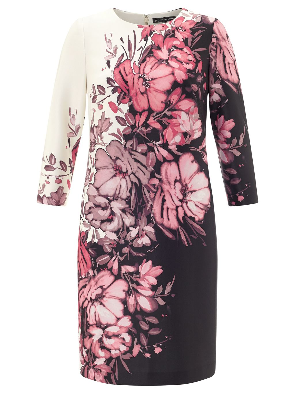 Black And Pink Floral Dress, Multi Coloured - style: shift; predominant colour: pink; secondary colour: pink; length: just above the knee; fit: body skimming; fibres: polyester/polyamide - 100%; occasions: occasion; neckline: crew; sleeve length: 3/4 length; sleeve style: standard; pattern type: fabric; pattern size: big & busy; pattern: florals; texture group: other - light to midweight; multicoloured: multicoloured; season: a/w 2015; wardrobe: event