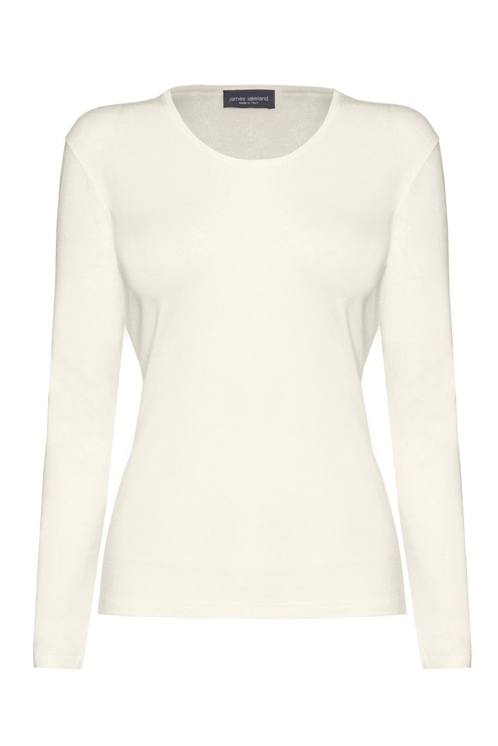 Basic Long Sleeve T Shirt, Cream - neckline: round neck; pattern: plain; style: t-shirt; predominant colour: ivory/cream; occasions: casual, work, creative work; length: standard; fibres: viscose/rayon - stretch; fit: body skimming; sleeve length: long sleeve; sleeve style: standard; texture group: jersey - clingy; pattern type: fabric; season: a/w 2015