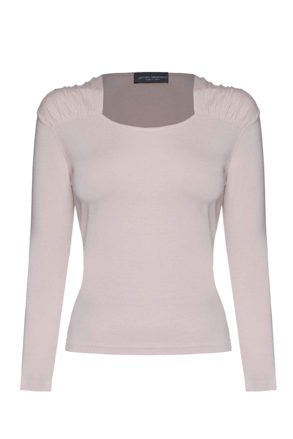 Square Neck T Shirt, Pink - pattern: plain; style: t-shirt; predominant colour: blush; occasions: casual, creative work; length: standard; neckline: scoop; fibres: viscose/rayon - stretch; fit: tight; sleeve length: long sleeve; sleeve style: standard; pattern type: fabric; texture group: jersey - stretchy/drapey; season: a/w 2015; wardrobe: basic