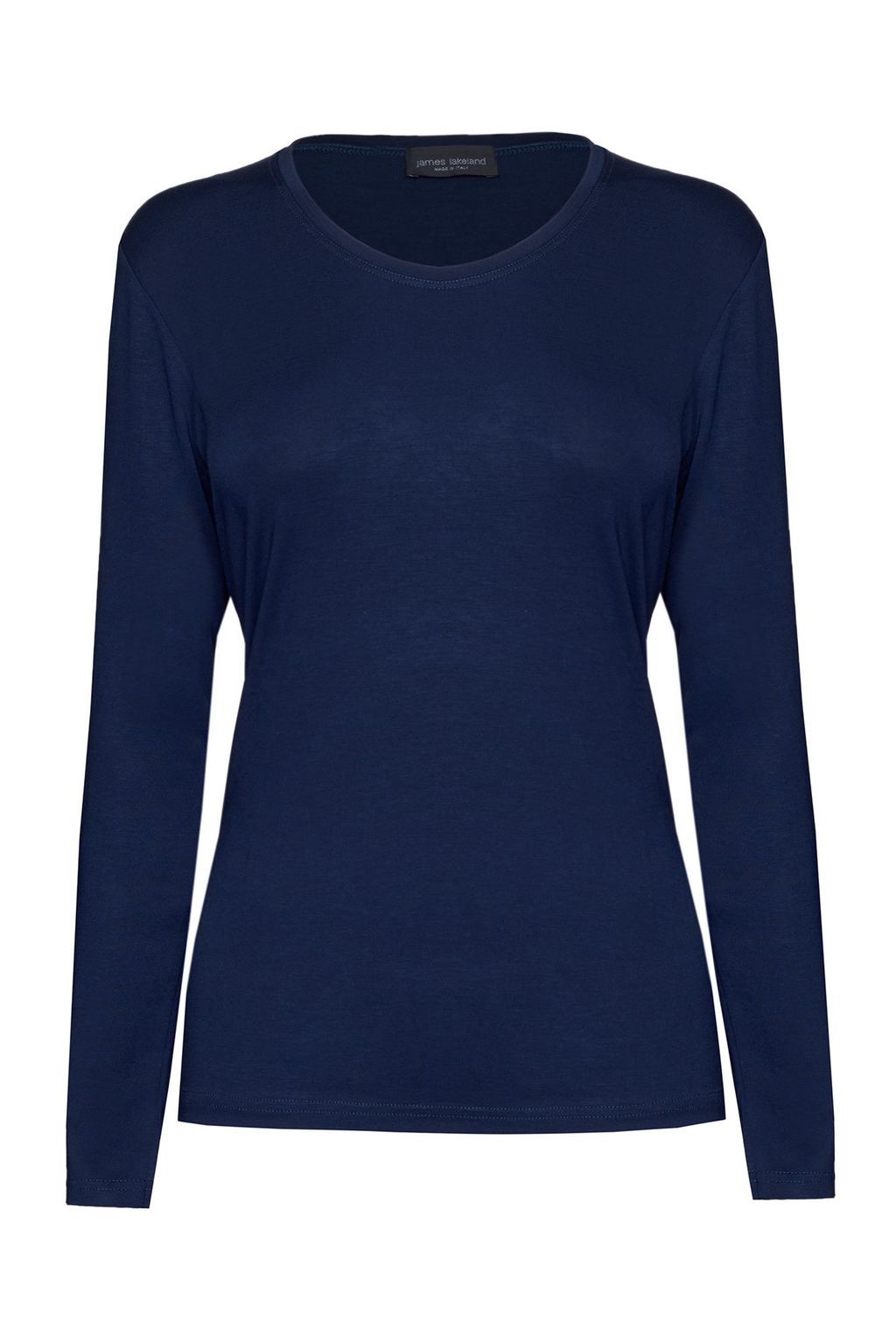 Basic Long Sleeve T Shirt, Navy - pattern: plain; style: t-shirt; predominant colour: navy; occasions: casual; length: standard; fibres: viscose/rayon - stretch; fit: body skimming; neckline: crew; sleeve length: long sleeve; sleeve style: standard; pattern type: fabric; texture group: jersey - stretchy/drapey; season: a/w 2015