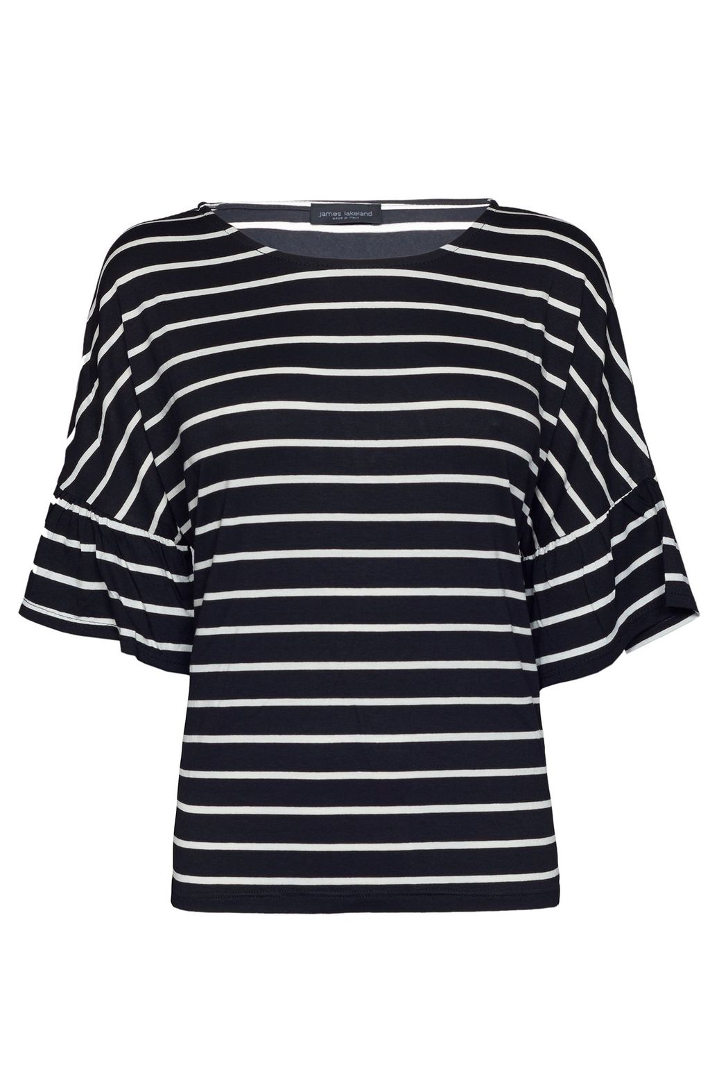 Wide Sleeve Stripe Top, Black/White - pattern: horizontal stripes; secondary colour: white; predominant colour: black; occasions: casual; length: standard; style: top; fibres: viscose/rayon - 100%; fit: body skimming; neckline: crew; sleeve length: 3/4 length; sleeve style: standard; pattern type: fabric; texture group: jersey - stretchy/drapey; season: a/w 2015; wardrobe: basic