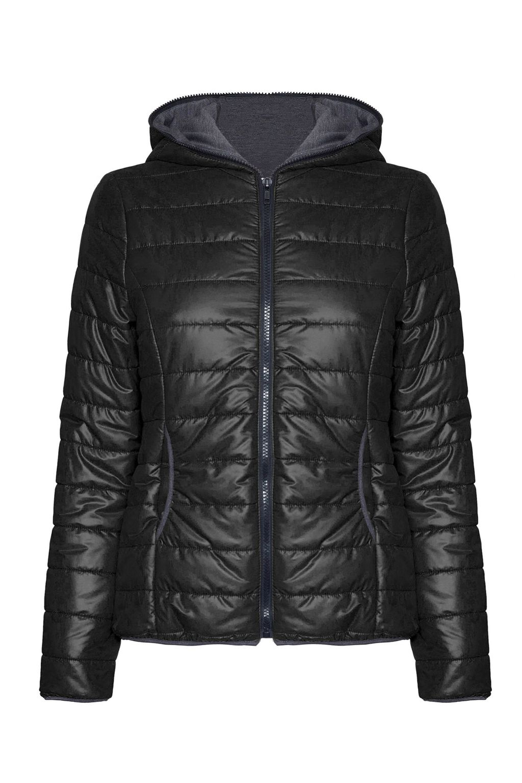 Short Puffer Jacket, Black - pattern: plain; length: standard; collar: high neck; fit: slim fit; predominant colour: black; occasions: casual; fibres: polyester/polyamide - 100%; sleeve length: long sleeve; sleeve style: standard; collar break: high; pattern type: fabric; texture group: woven bulky/heavy; style: puffa; season: a/w 2015; wardrobe: basic