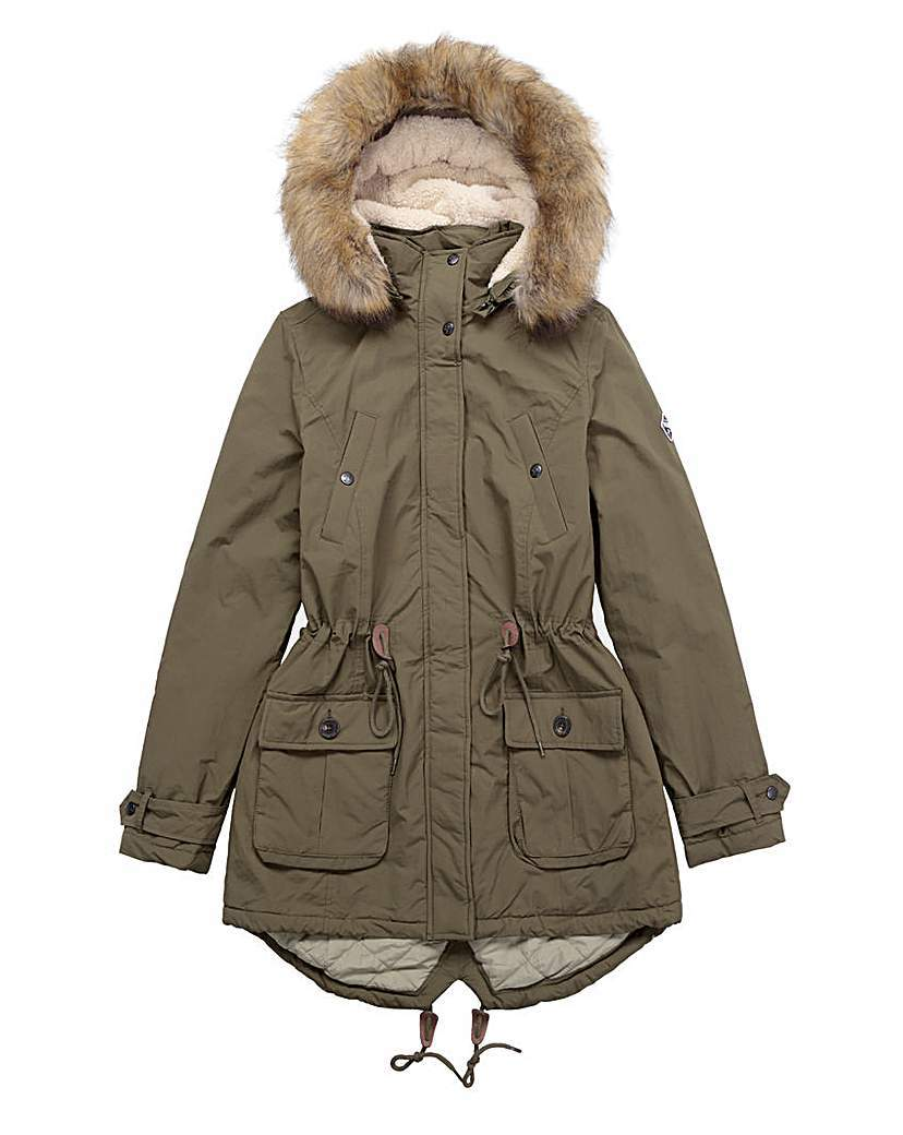 Puffa Fur Trim Parka - pattern: plain; collar: funnel; style: parka; length: mid thigh; predominant colour: khaki; occasions: casual, creative work; fit: tailored/fitted; fibres: polyester/polyamide - 100%; sleeve length: long sleeve; sleeve style: standard; texture group: technical outdoor fabrics; collar break: high; pattern type: fabric; embellishment: fur; season: a/w 2015; wardrobe: highlight