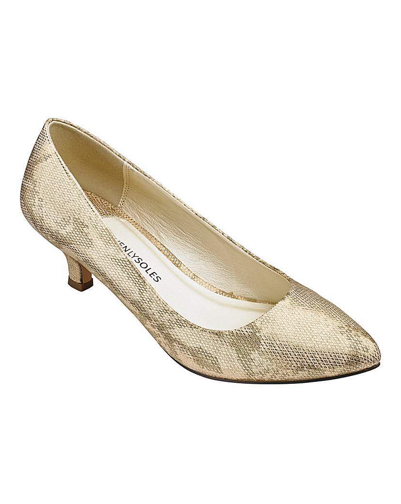 Heavenly Soles Court Shoes E Fit - secondary colour: taupe; predominant colour: stone; occasions: evening, occasion; material: faux leather; heel height: mid; heel: kitten; toe: pointed toe; style: courts; finish: plain; pattern: animal print; season: a/w 2015; wardrobe: event
