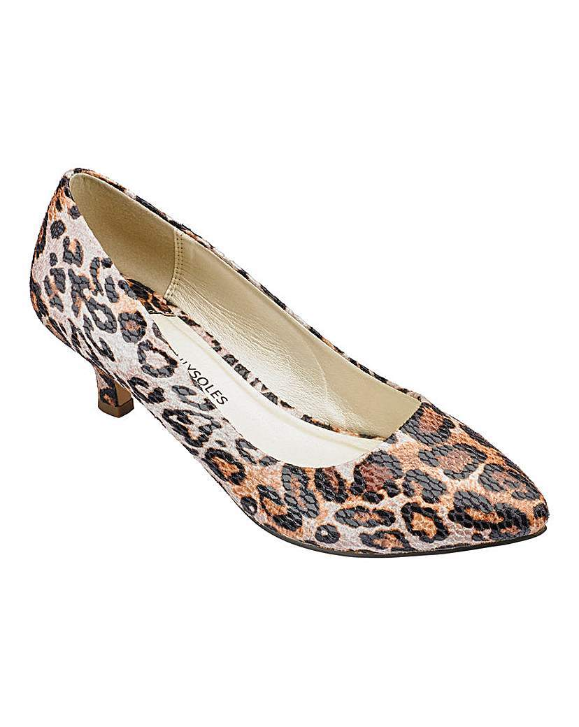 Heavenly Soles Court Shoes E Fit - predominant colour: ivory/cream; secondary colour: black; occasions: evening, occasion; material: faux leather; heel height: mid; heel: kitten; toe: pointed toe; style: courts; finish: plain; pattern: animal print; season: a/w 2015; wardrobe: event