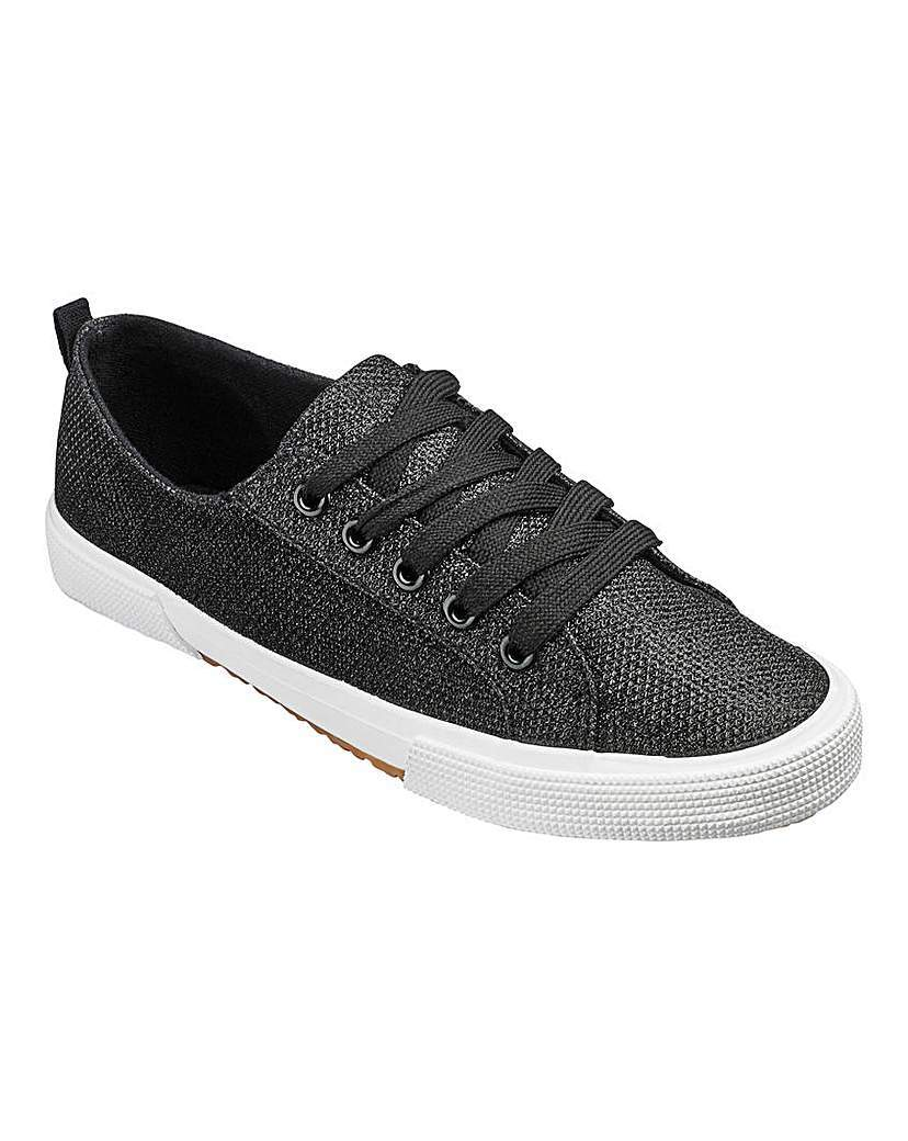 Heavenly Soles Lace Up Shoes E Fit - predominant colour: black; occasions: casual, creative work; material: faux leather; heel height: flat; toe: round toe; style: trainers; finish: metallic; pattern: plain; shoe detail: moulded soul; season: a/w 2015; wardrobe: highlight