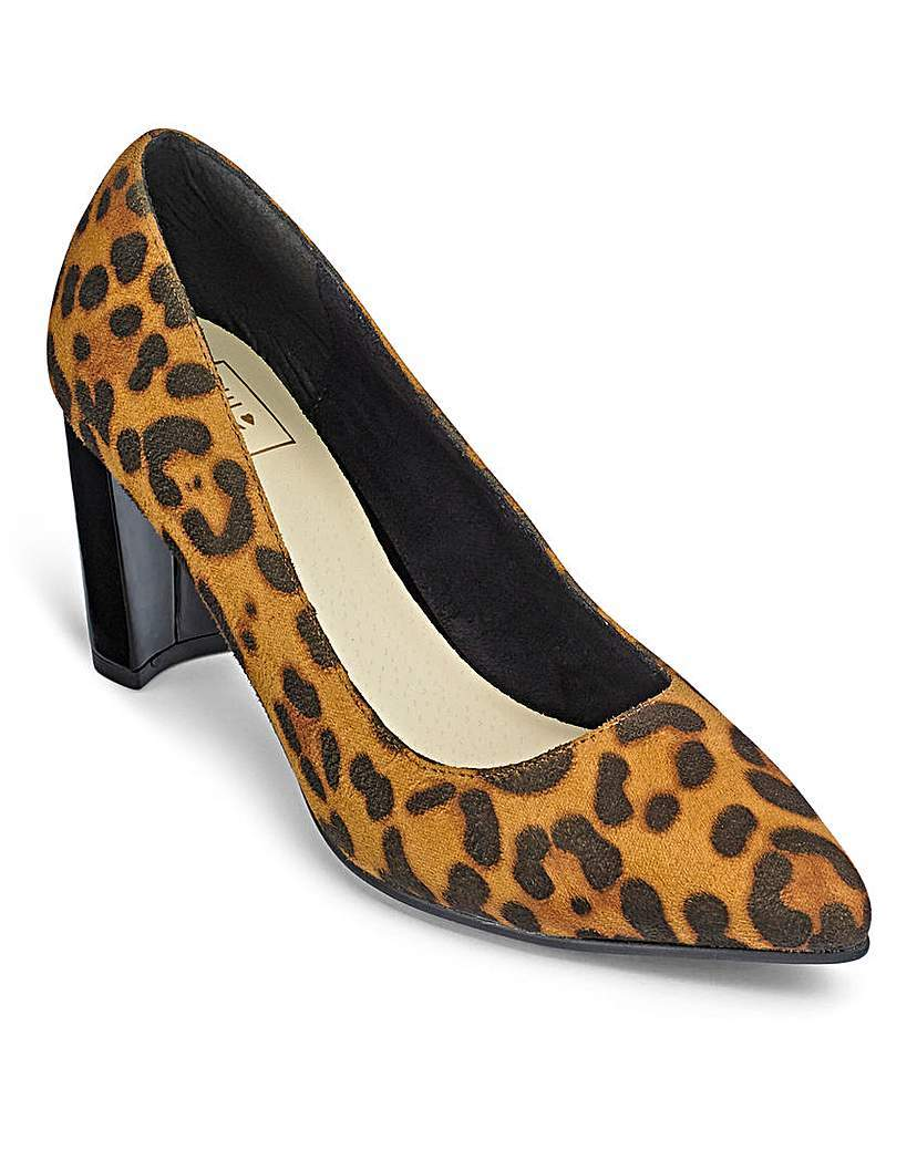 Sole Diva Court Shoes E Fit - secondary colour: camel; predominant colour: black; occasions: evening, creative work; heel height: high; heel: block; toe: pointed toe; style: courts; finish: plain; pattern: animal print; material: faux suede; season: a/w 2015; wardrobe: highlight