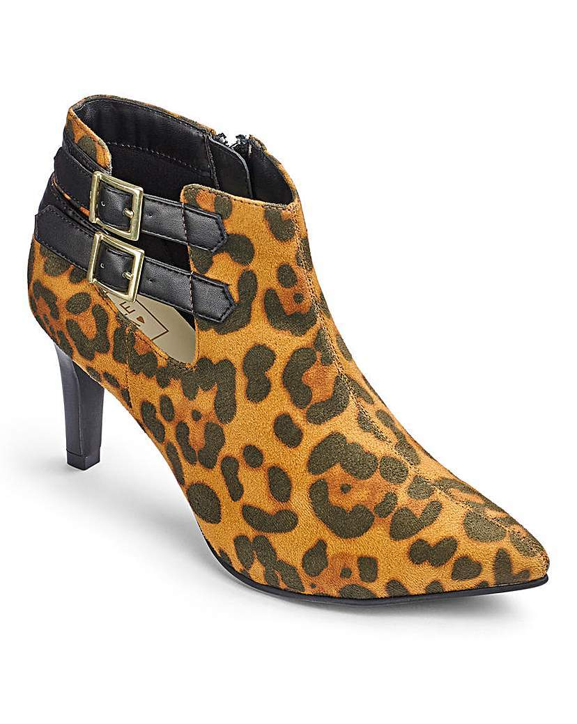 Sole Diva Ankle Boots Eee Fit - secondary colour: mustard; predominant colour: chocolate brown; occasions: casual; material: faux leather; heel height: high; embellishment: buckles; heel: standard; toe: pointed toe; boot length: ankle boot; style: standard; finish: plain; pattern: animal print; season: a/w 2015; wardrobe: highlight