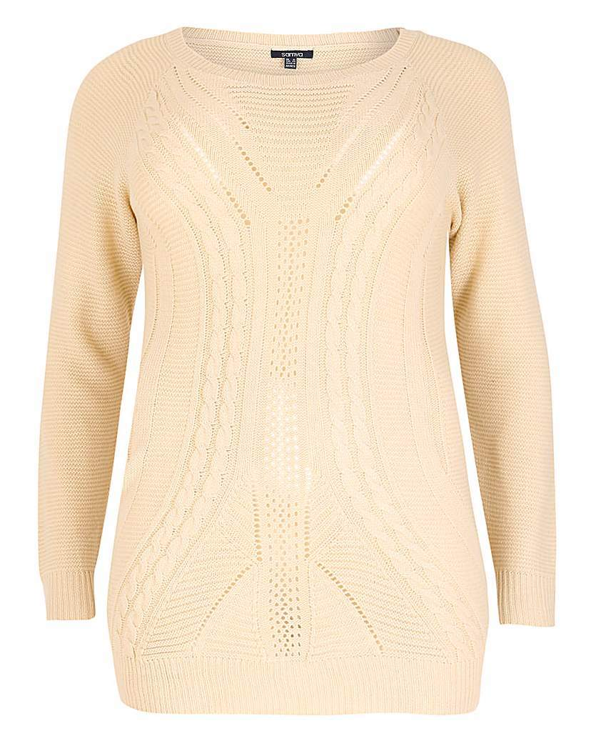 Samya Long Sleeve Textured Knit Pullover - neckline: round neck; pattern: plain; length: below the bottom; style: standard; predominant colour: ivory/cream; occasions: casual, creative work; fibres: nylon - mix; fit: standard fit; sleeve length: long sleeve; sleeve style: standard; texture group: knits/crochet; pattern type: knitted - other; season: a/w 2015; wardrobe: basic