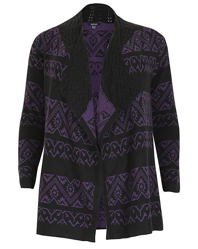 Samya Geo Waterfall Knitwear Cardigan - neckline: waterfall neck; length: below the bottom; style: open front; secondary colour: purple; predominant colour: black; occasions: casual, creative work; fibres: acrylic - mix; fit: loose; sleeve length: 3/4 length; sleeve style: standard; texture group: knits/crochet; pattern type: knitted - fine stitch; pattern: patterned/print; pattern size: big & busy (top); season: a/w 2015
