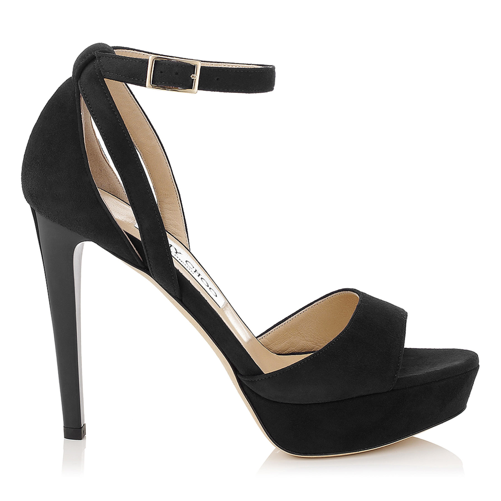 Kayden Black Suede Platform Sandals - predominant colour: black; occasions: evening; material: suede; ankle detail: ankle strap; heel: stiletto; toe: open toe/peeptoe; style: standard; finish: plain; pattern: plain; heel height: very high; shoe detail: platform; season: a/w 2015; wardrobe: event