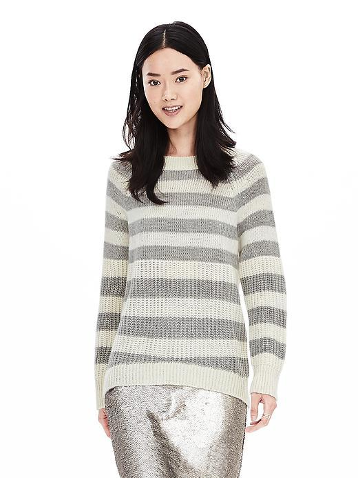 Bold Stripe High/Low Pullover Tan - neckline: round neck; pattern: horizontal stripes; style: standard; predominant colour: mid grey; occasions: casual, creative work; length: standard; fibres: wool - mix; fit: standard fit; sleeve length: long sleeve; sleeve style: standard; texture group: knits/crochet; pattern type: knitted - fine stitch; pattern size: big & busy (top); season: a/w 2015; wardrobe: highlight