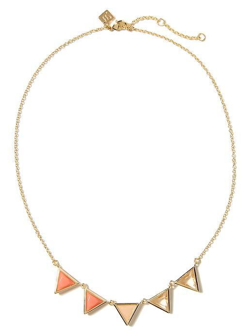 Triangle Delicate Necklace Brass - secondary colour: coral; predominant colour: gold; occasions: evening, occasion; style: pendant; length: short; size: standard; material: chain/metal; finish: metallic; season: a/w 2015; wardrobe: event