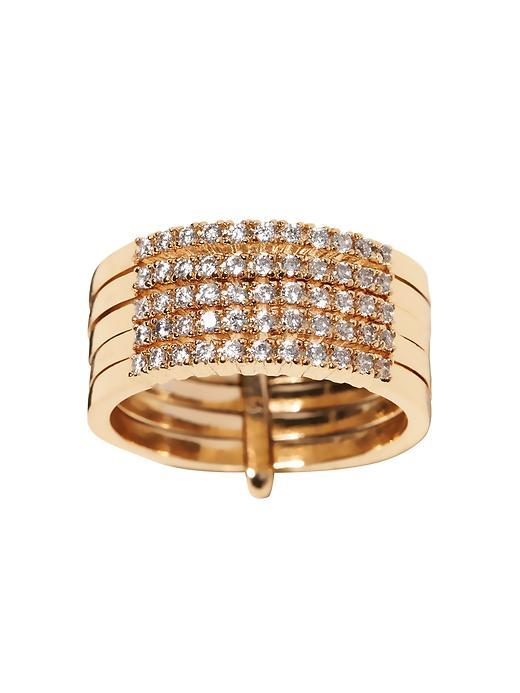Sparkle Stack Ring Gold - predominant colour: gold; occasions: evening, occasion; style: band; size: large/oversized; material: chain/metal; finish: metallic; embellishment: crystals/glass; season: a/w 2015; wardrobe: event