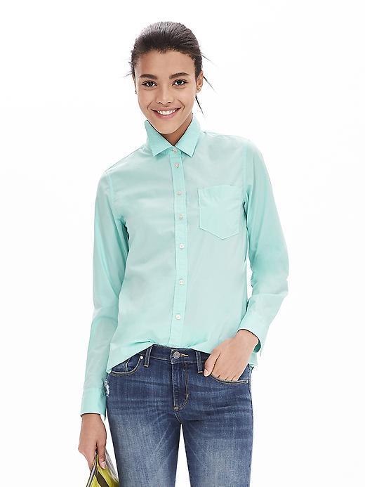 Classic Fit One Pocket Shirt Soft Turquoise - neckline: shirt collar/peter pan/zip with opening; pattern: plain; style: shirt; predominant colour: pistachio; occasions: casual, creative work; length: standard; fibres: cotton - 100%; fit: body skimming; sleeve length: long sleeve; sleeve style: standard; texture group: cotton feel fabrics; pattern type: fabric; season: a/w 2015; wardrobe: highlight